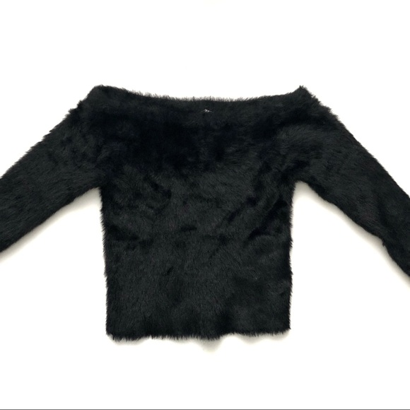 aba9cb08806e H M Tops - H M Off-the-Shoulder Black Fuzzy ...